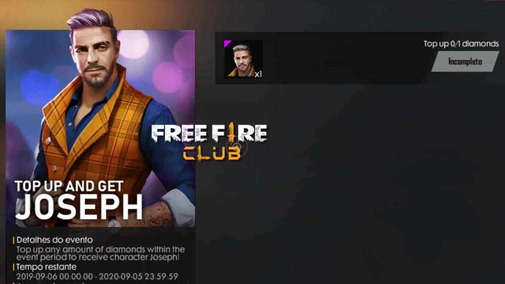 Personagem Joseph Por 1 Diamante Em Evento Free Fire Club